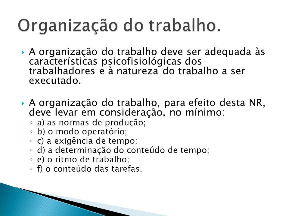 Organização do trabalho.