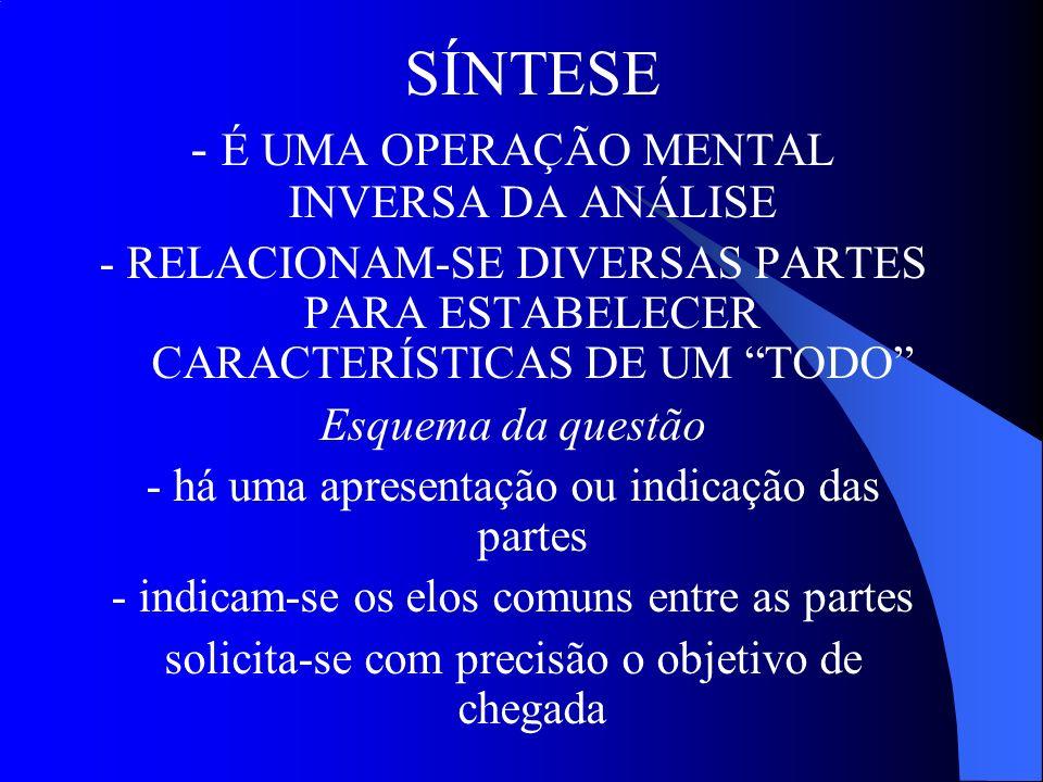 - É UMA OPERAÇÃO MENTAL INVERSA DA ANÁLISE