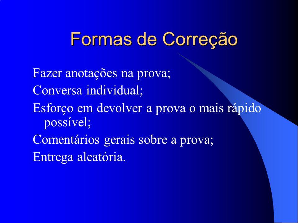 Formas de Correção Fazer anotações na prova; Conversa individual;