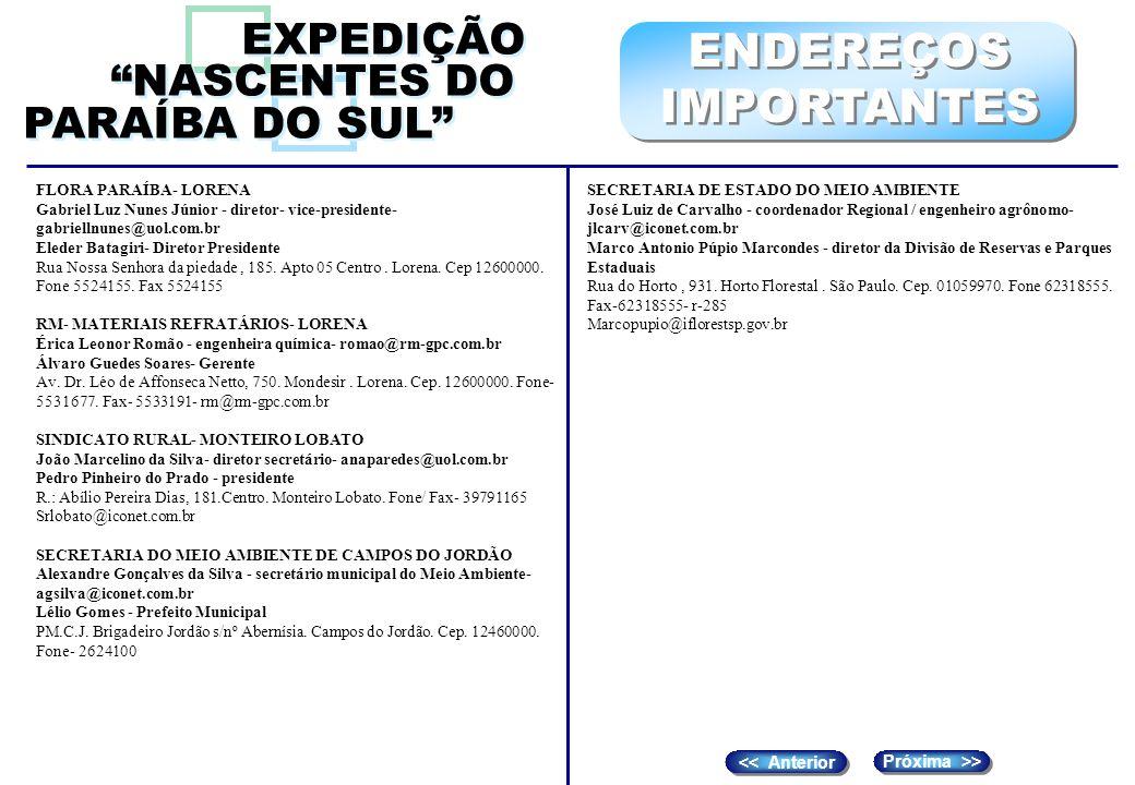 ENDEREÇOS IMPORTANTES EXPEDIÇÃO NASCENTES DO PARAÍBA DO SUL