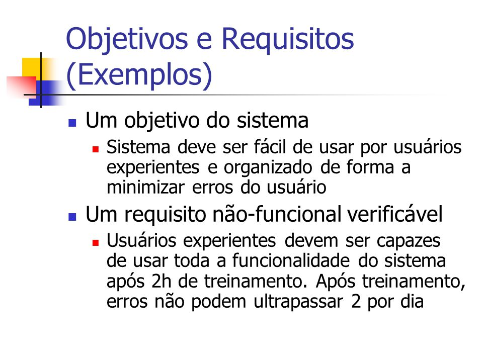 Objetivos e Requisitos (Exemplos)