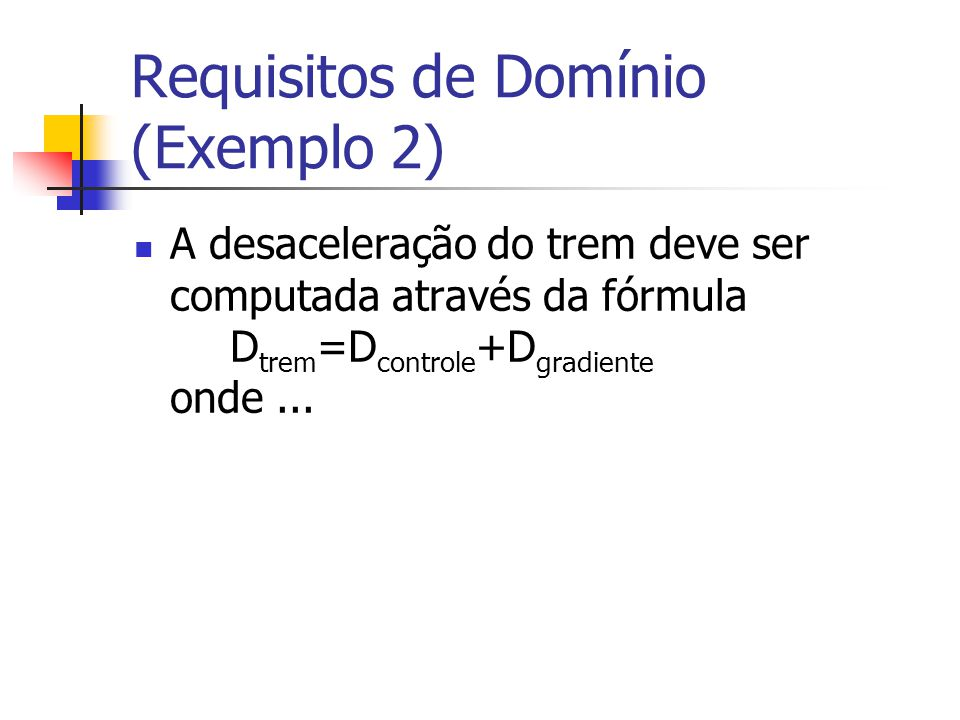 Requisitos de Domínio (Exemplo 2)
