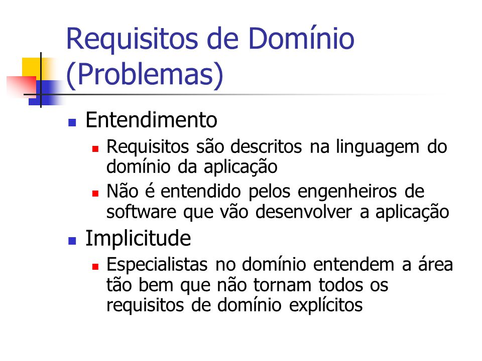 Requisitos de Domínio (Problemas)