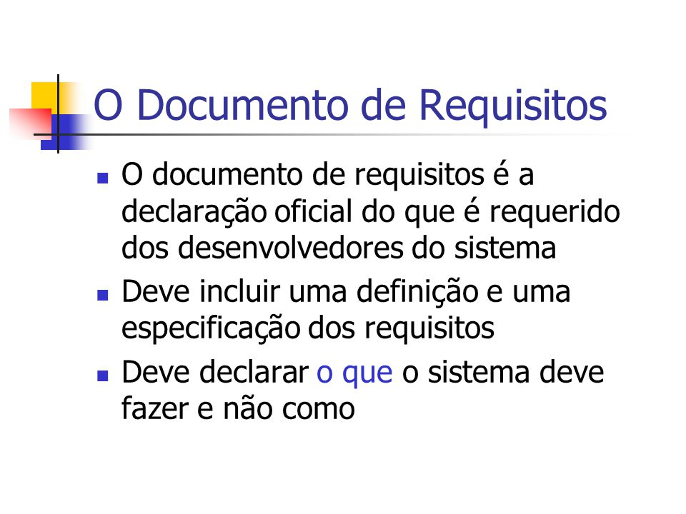 O Documento de Requisitos