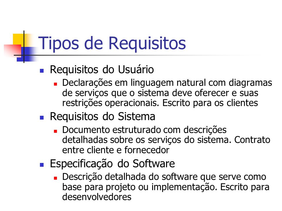 Tipos de Requisitos Requisitos do Usuário Requisitos do Sistema