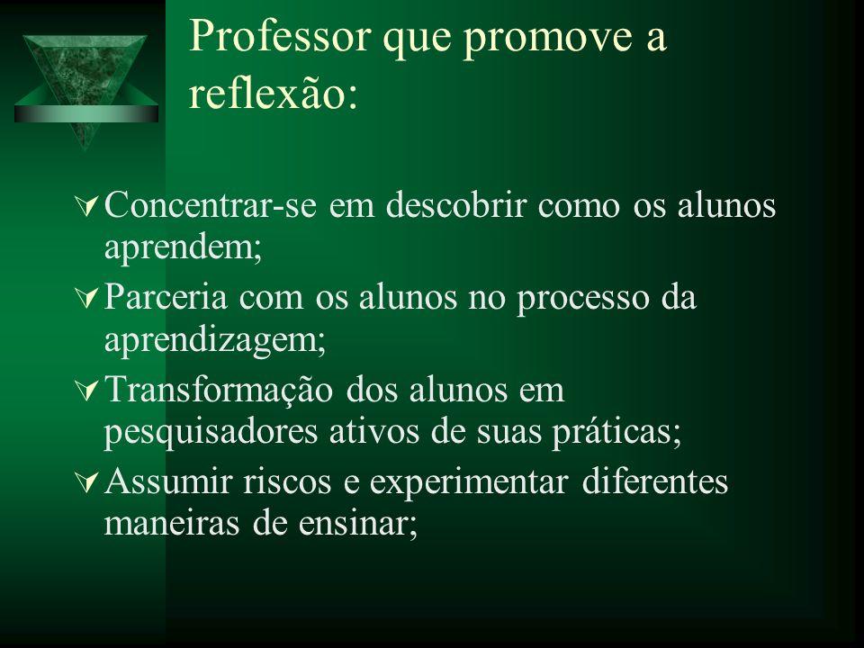 Professor que promove a reflexão: