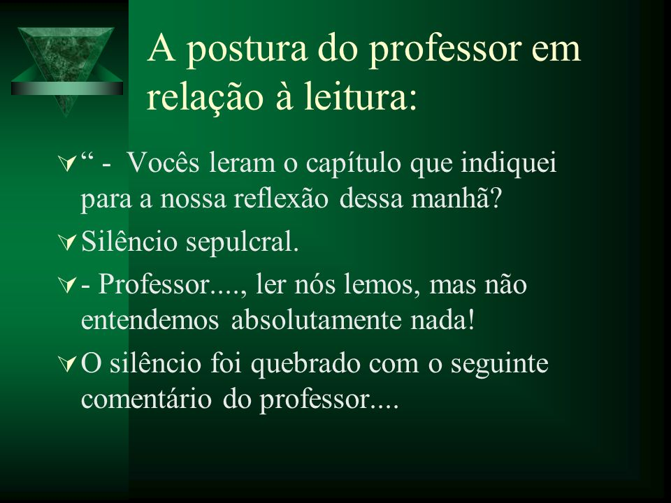 A postura do professor em relação à leitura: