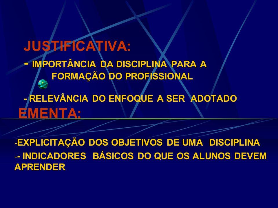 JUSTIFICATIVA: - IMPORTÂNCIA DA DISCIPLINA PARA A