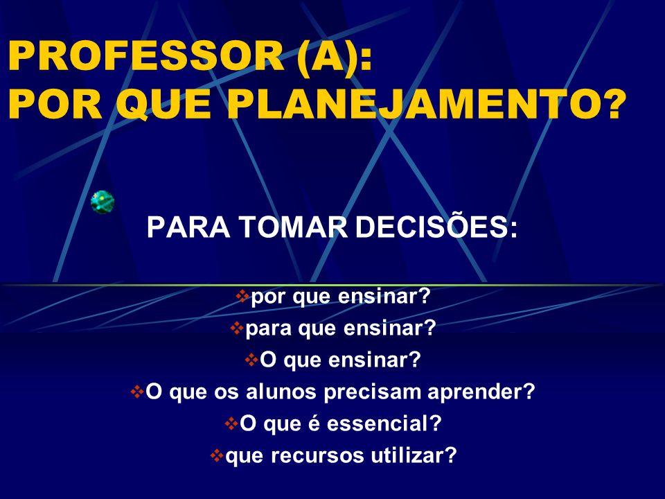 PROFESSOR (A): POR QUE PLANEJAMENTO