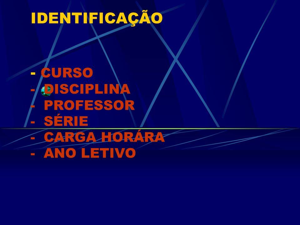 IDENTIFICAÇÃO - CURSO - DISCIPLINA - PROFESSOR - SÉRIE - CARGA HORÁRA - ANO LETIVO