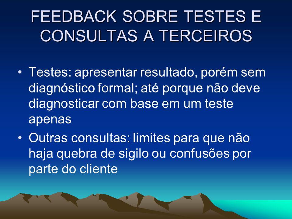 FEEDBACK SOBRE TESTES E CONSULTAS A TERCEIROS