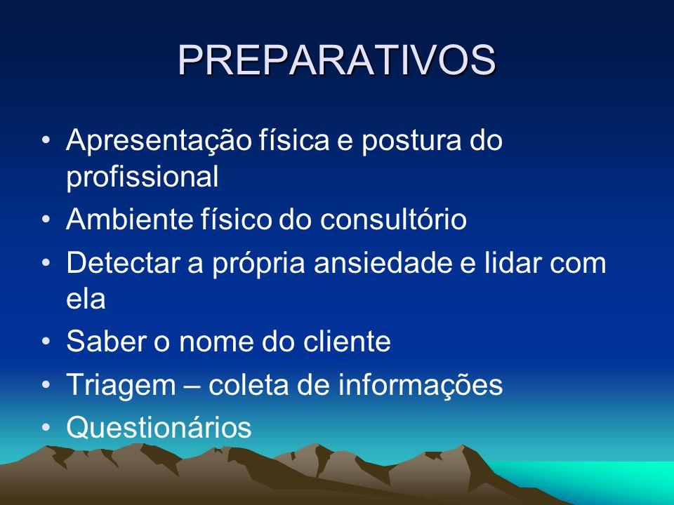 PREPARATIVOS Apresentação física e postura do profissional