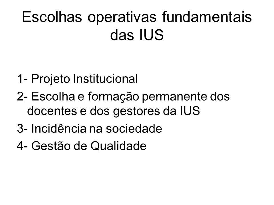 Escolhas operativas fundamentais das IUS