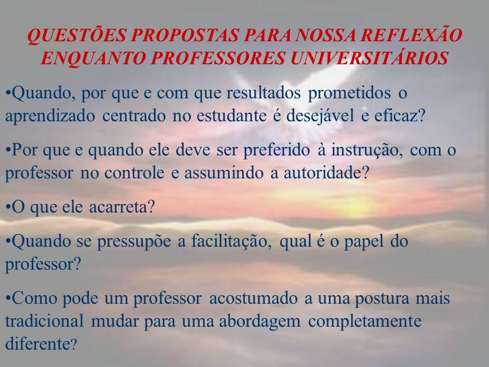 QUESTÕES PROPOSTAS PARA NOSSA REFLEXÃO ENQUANTO PROFESSORES UNIVERSITÁRIOS