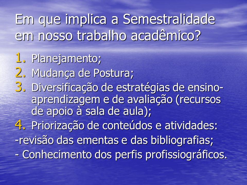 Em que implica a Semestralidade em nosso trabalho acadêmico