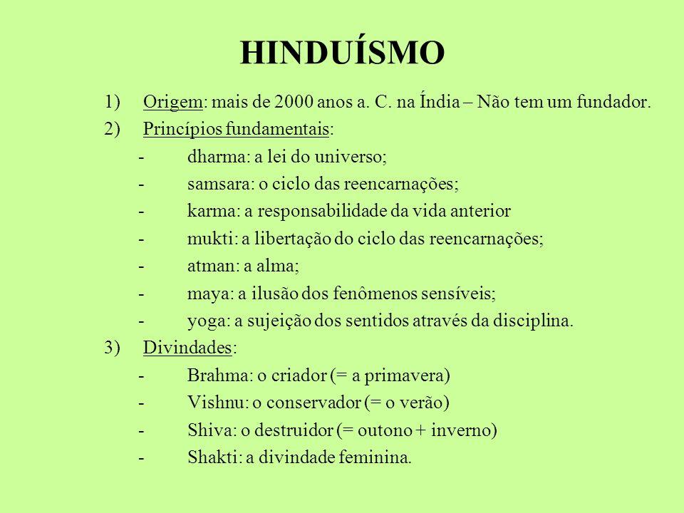 HINDUÍSMO 1) Origem: mais de 2000 anos a. C. na Índia – Não tem um fundador. 2) Princípios fundamentais: