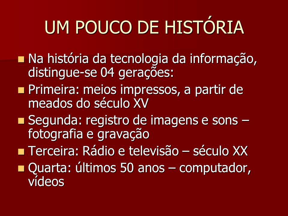 UM POUCO DE HISTÓRIA Na história da tecnologia da informação, distingue-se 04 gerações: Primeira: meios impressos, a partir de meados do século XV.