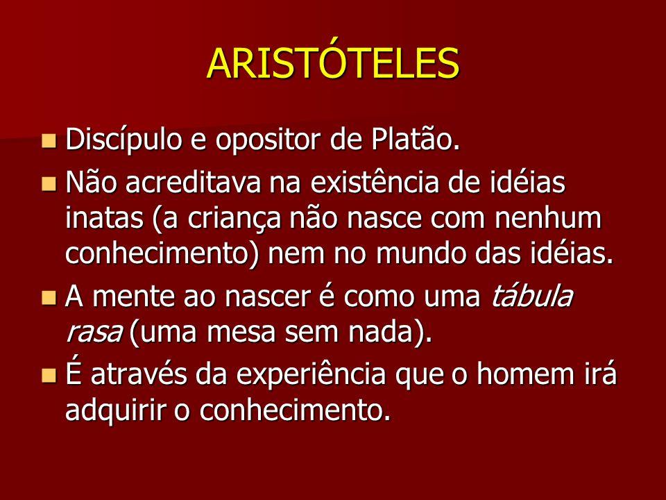 ARISTÓTELES Discípulo e opositor de Platão.