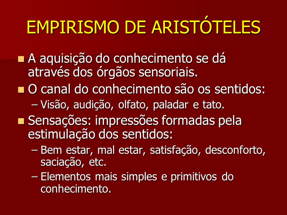 EMPIRISMO DE ARISTÓTELES