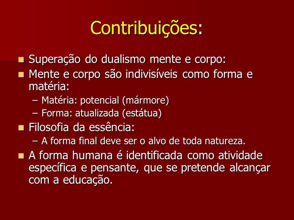 Contribuições: Superação do dualismo mente e corpo: