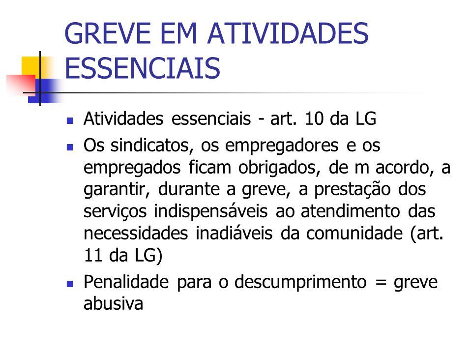 GREVE EM ATIVIDADES ESSENCIAIS
