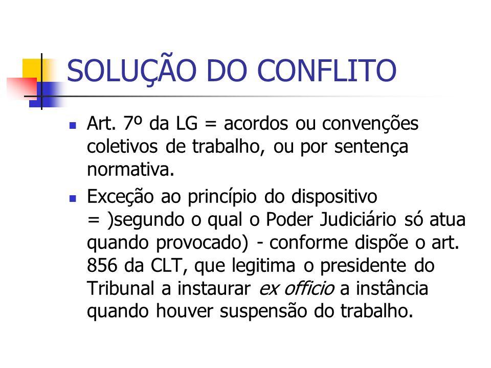 SOLUÇÃO DO CONFLITO Art. 7º da LG = acordos ou convenções coletivos de trabalho, ou por sentença normativa.