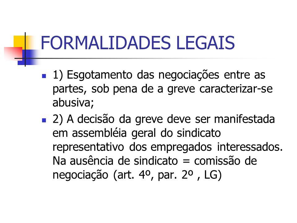 FORMALIDADES LEGAIS 1) Esgotamento das negociações entre as partes, sob pena de a greve caracterizar-se abusiva;
