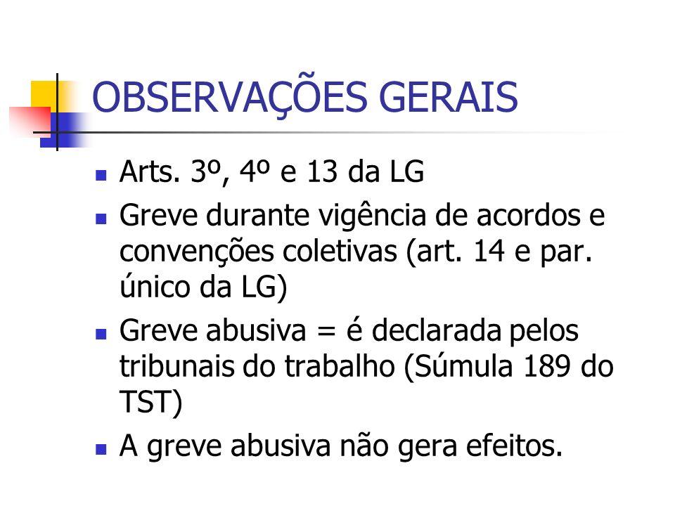 OBSERVAÇÕES GERAIS Arts. 3º, 4º e 13 da LG