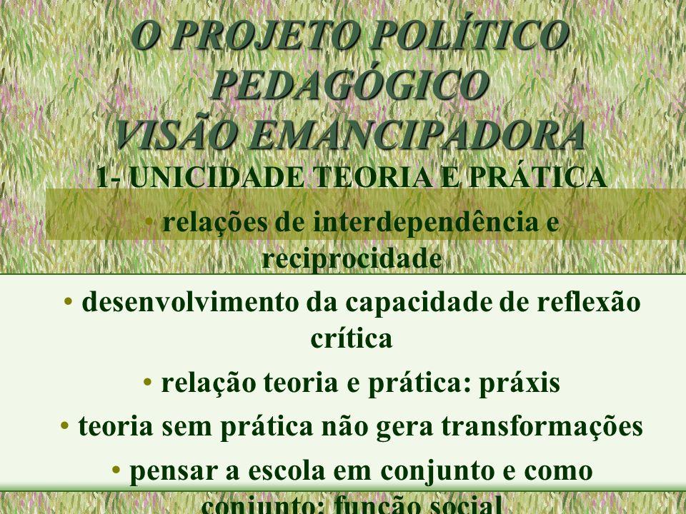 O PROJETO POLÍTICO PEDAGÓGICO VISÃO EMANCIPADORA