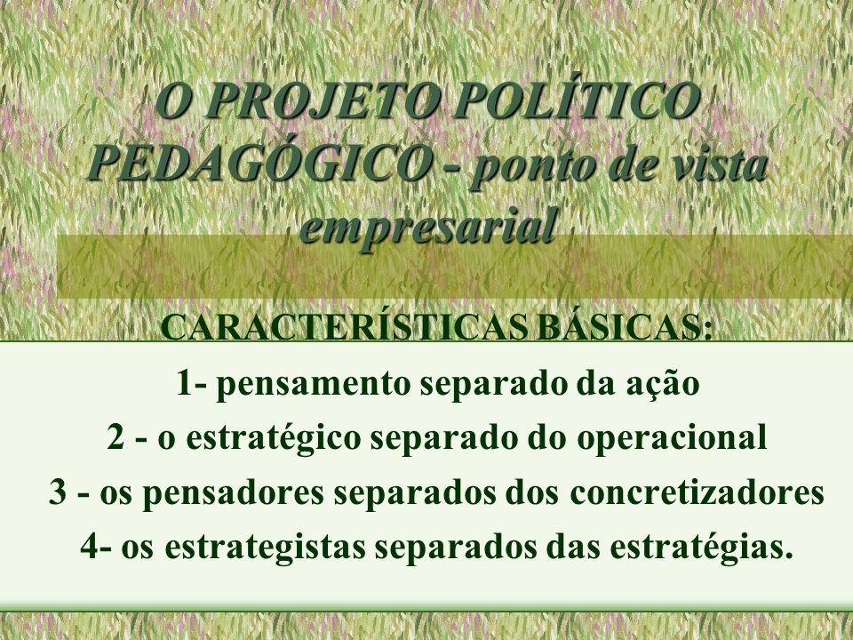 O PROJETO POLÍTICO PEDAGÓGICO - ponto de vista empresarial