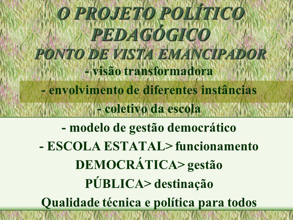O PROJETO POLÍTICO PEDAGÓGICO PONTO DE VISTA EMANCIPADOR