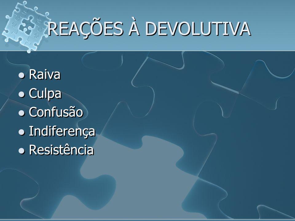 REAÇÕES À DEVOLUTIVA Raiva Culpa Confusão Indiferença Resistência