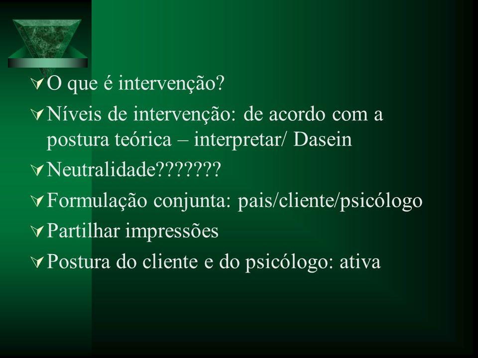 O que é intervenção Níveis de intervenção: de acordo com a postura teórica – interpretar/ Dasein. Neutralidade