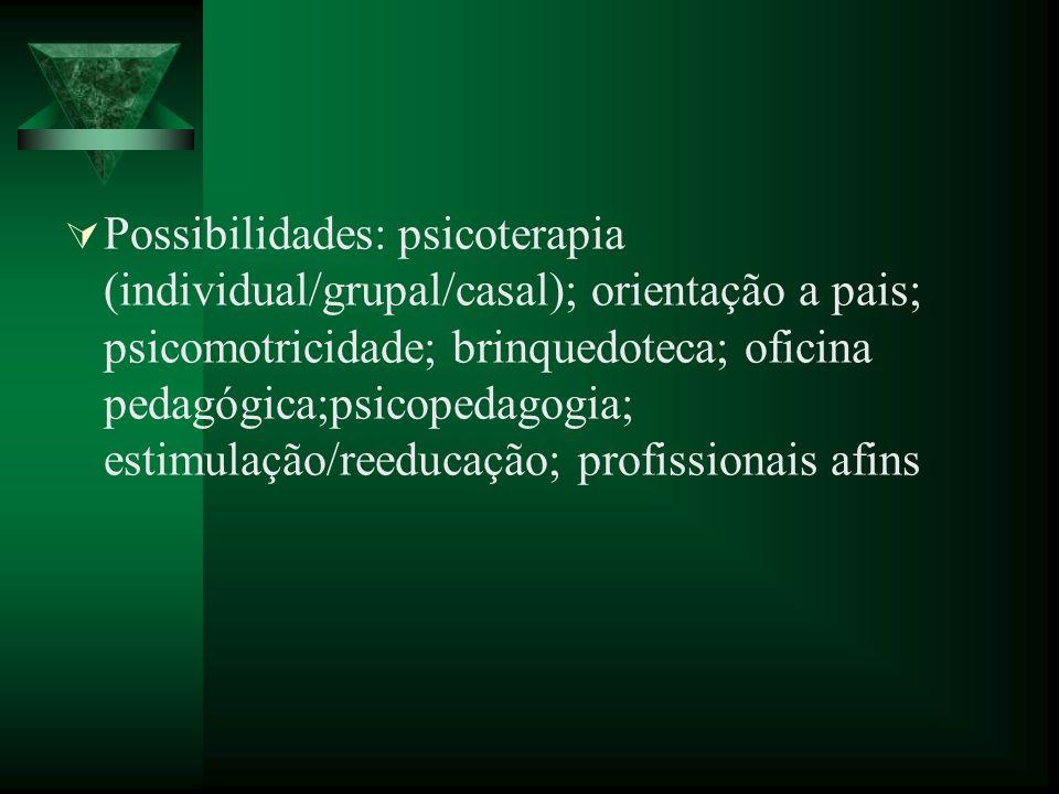 Possibilidades: psicoterapia (individual/grupal/casal); orientação a pais; psicomotricidade; brinquedoteca; oficina pedagógica;psicopedagogia; estimulação/reeducação; profissionais afins