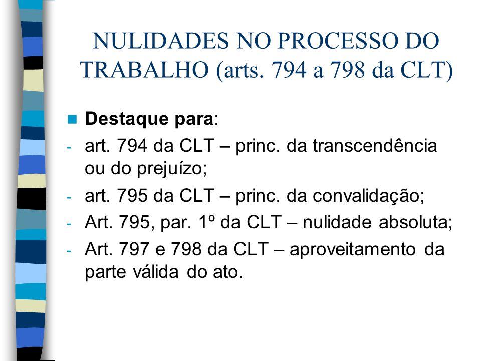 NULIDADES NO PROCESSO DO TRABALHO (arts. 794 a 798 da CLT)