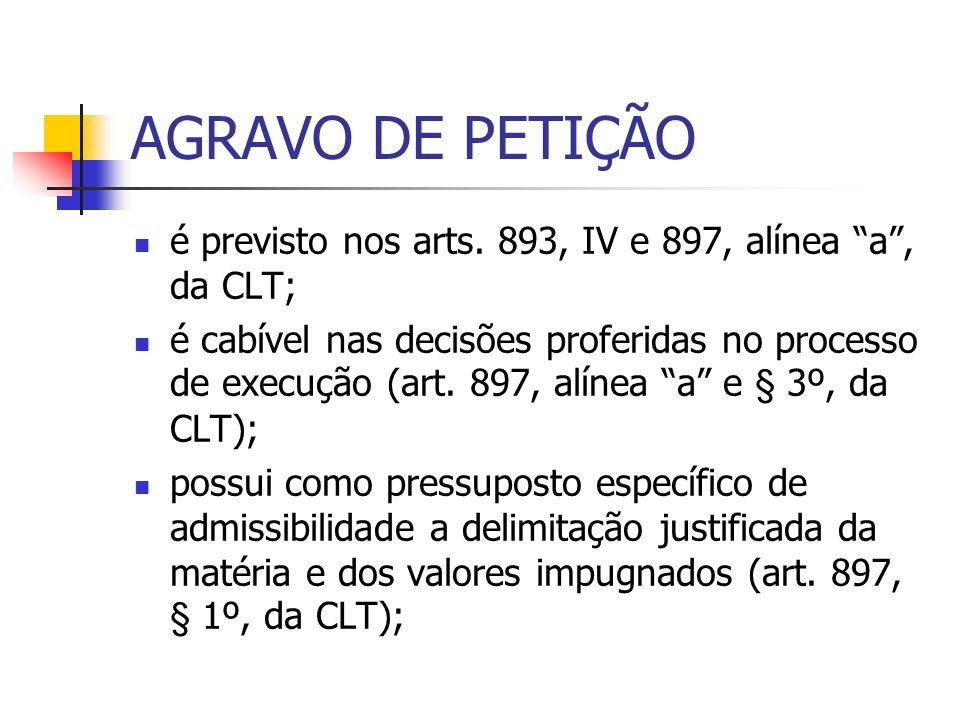 AGRAVO DE PETIÇÃO é previsto nos arts. 893, IV e 897, alínea a , da CLT;