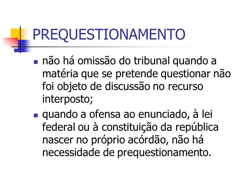 PREQUESTIONAMENTO não há omissão do tribunal quando a matéria que se pretende questionar não foi objeto de discussão no recurso interposto;