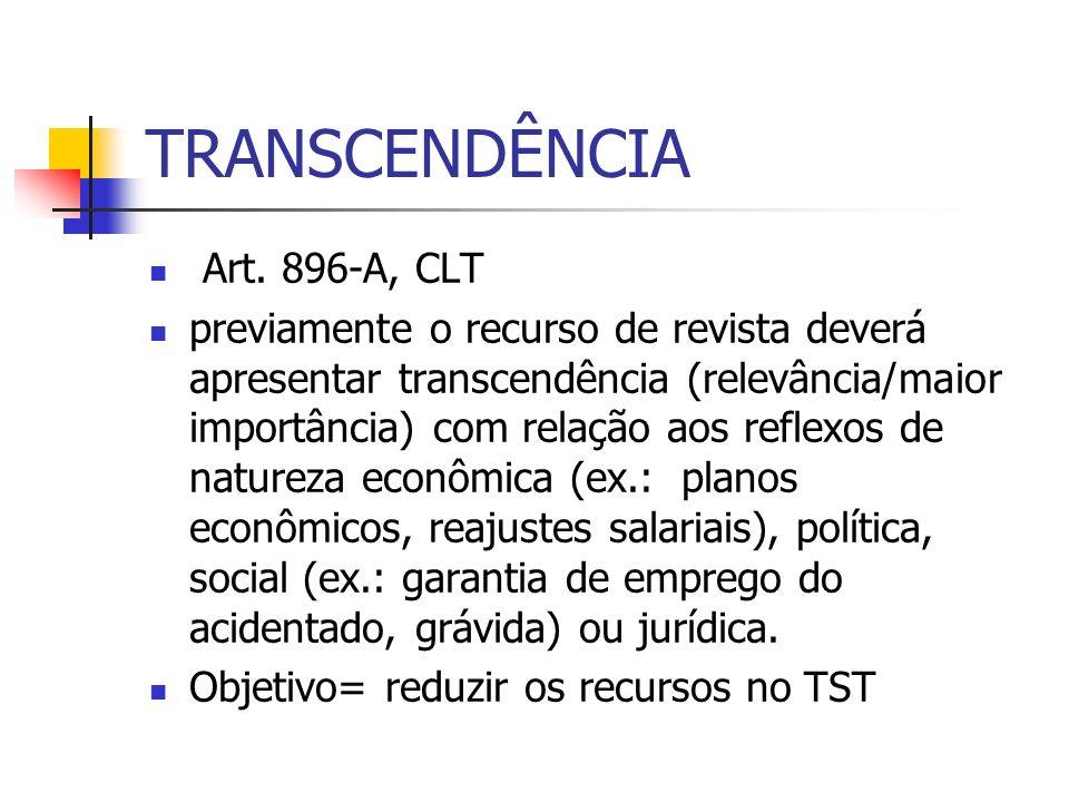 TRANSCENDÊNCIA Art. 896-A, CLT