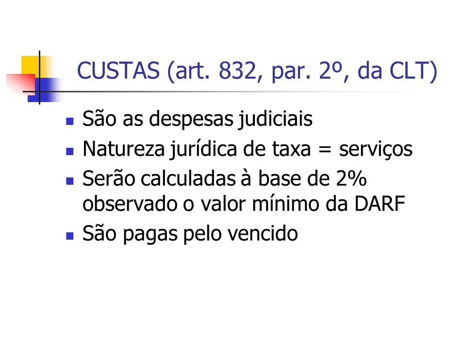 CUSTAS (art. 832, par. 2º, da CLT)