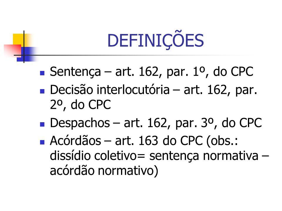 DEFINIÇÕES Sentença – art. 162, par. 1º, do CPC