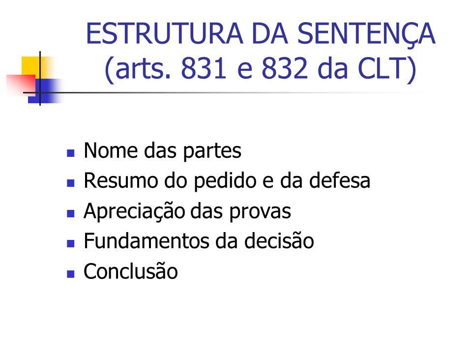 ESTRUTURA DA SENTENÇA (arts. 831 e 832 da CLT)