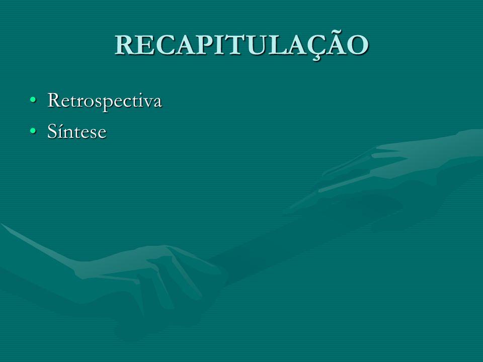 RECAPITULAÇÃO Retrospectiva Síntese