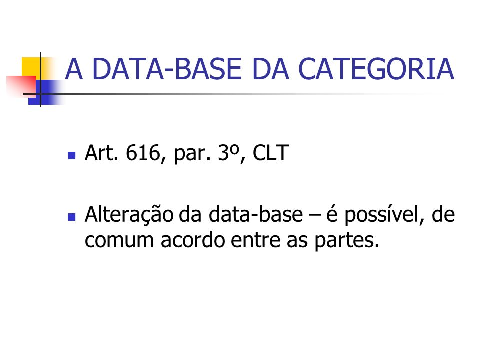 A DATA-BASE DA CATEGORIA