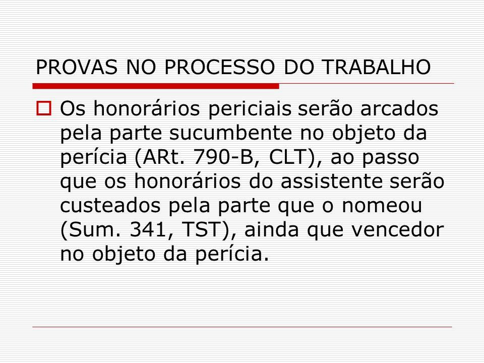 PROVAS NO PROCESSO DO TRABALHO
