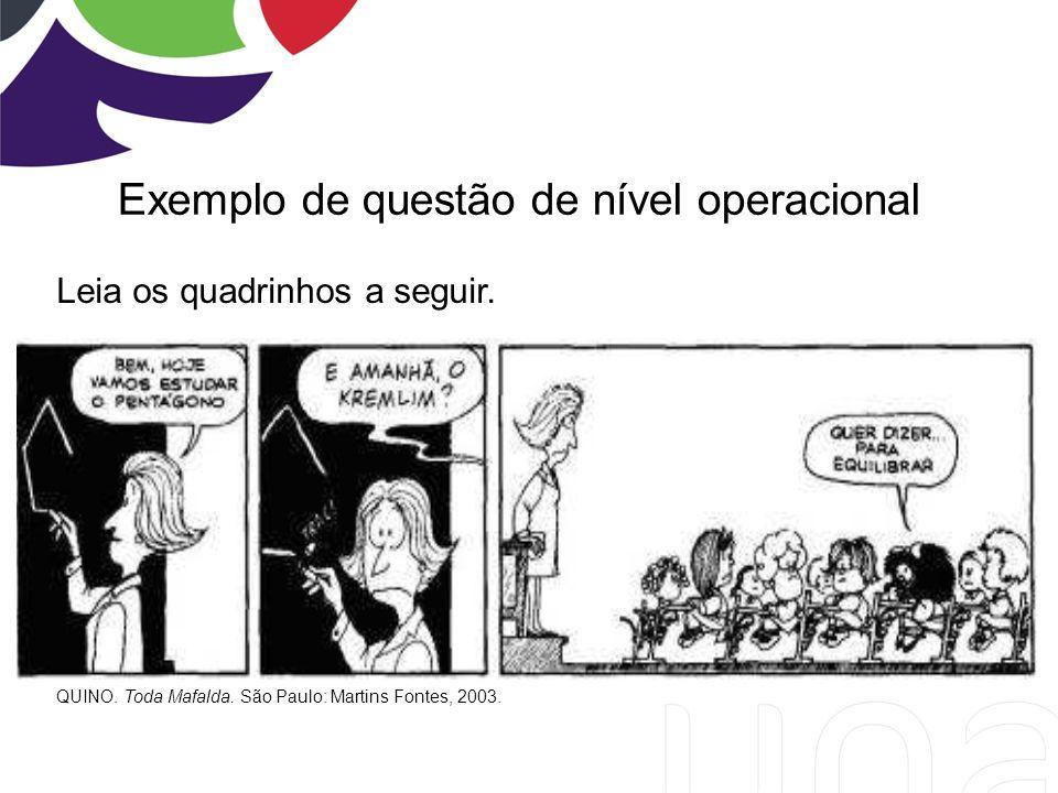 Exemplo de questão de nível operacional