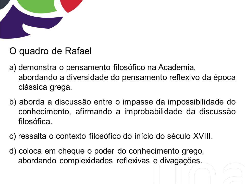 O quadro de Rafael demonstra o pensamento filosófico na Academia,
