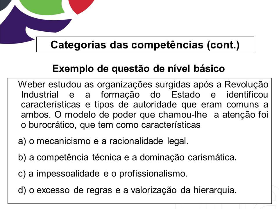Categorias das competências (cont.)