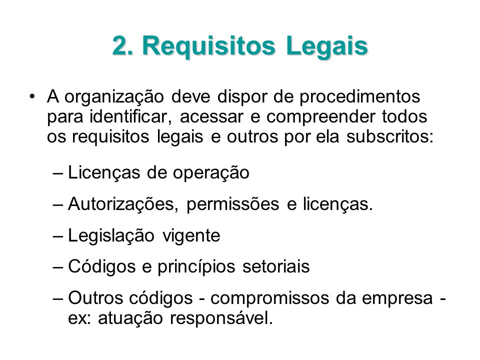 2. Requisitos Legais