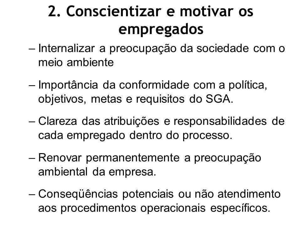 2. Conscientizar e motivar os empregados
