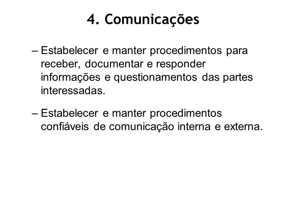 4. Comunicações Estabelecer e manter procedimentos para receber, documentar e responder informações e questionamentos das partes interessadas.